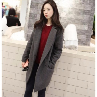 Women Winter Warm Wool Lapel Trench Parka Coat Jacket Long Slim Overcoat Outwear - intl