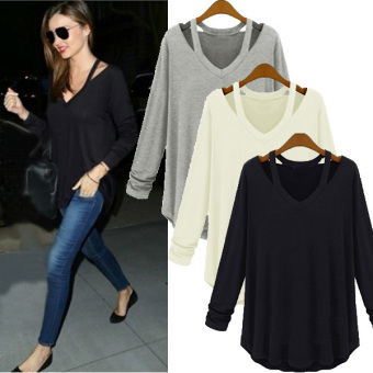 Womens Fashion Off Shoulder Long Sleeve V-Neck Loose Blouse White