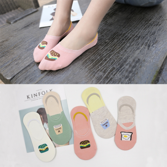 Women's Korean-style Invisible 100% Cotton No Show Socks ([Mac] five pairs of dress socks)