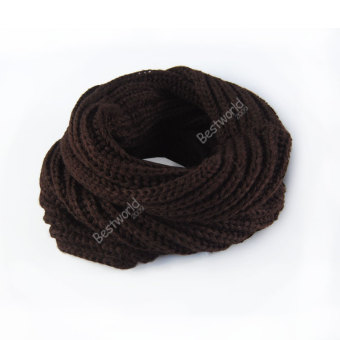 Harga Wool knit winter warm knitted neck circle cowl snood scarf (Coffee Color coffee) (Coffee Color coffee)