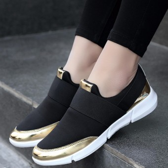 YEALON Fashion Casuals Shoes Woman Sneakers White Running Shoes For Women Sneakers Slip On Krasovki Ladies Black Zapatillas Deportivas Mujer - intl