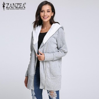 ZANZEA Autumn Winter Fashion Women Long Hooded Sweatshirt Warm Fleece Zip Up Outerwear Casual Slim Solid Hoodies Jacket Coats Plus Size Light Grey - intl