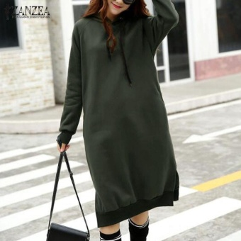 ZANZEA Fashion Women Autumn Hooded Long Sleeve Winter Casual Solid Split Loose Long Pullover Sweatshirt Dress (Army Green) - intl
