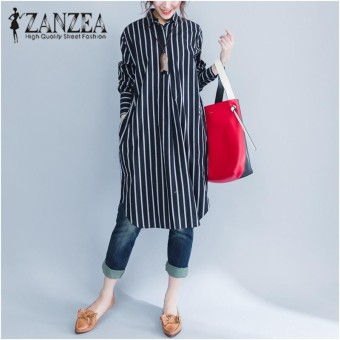 ZANZEA Fashion Women Stripe Long Sleeve Long Shirt Blouse New Autumn Loose Casual Tops Blusas Dresses Vestidos Plus Size - intl