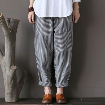 ZANZEA Plus Size Trousers Women Elastic Striped Pockets Loose Casual Long Pants - intl