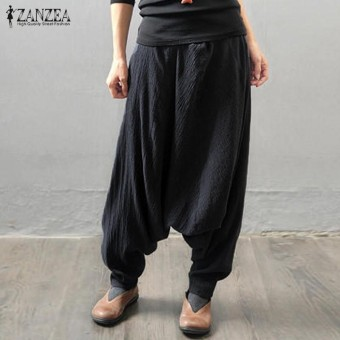 ZANZEA Women Retro Baggy Elastic Waist Cotton Long Harem Pants Pockets Solid Drop-Crotch Trousers Linen Pantalon Plus Size Black - intl