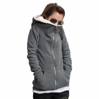 ZANZEA Womens Fleece Long Sleeve Coat Hooded Hoodie Jacket Sweater Outwear Sweatshirt Grey