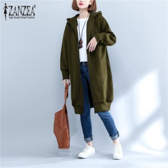 ZANZEA Womens Ladies Autumn Winter Long Sleeve Plain Hoodie Sweatshirt Zip Up Hooded Coat Jacket Outwear Army Green - intl