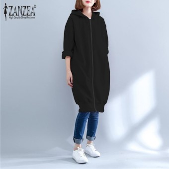 ZANZEA Womens Ladies Autumn Winter Long Sleeve Plain Hoodie Sweatshirt Zip Up Hooded Coat Jacket Outwear Black - intl