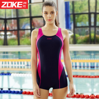 Zoke professional swimsuit female siamese boxer swimsuit smallchest was thin conservative 2016 new women's training andcompetition swimwear (Dark blue/rose _ 3)