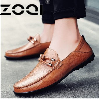 ZOQI Men Casual Shoes Fashion Shoes Leather Men Loafers Moccasins Slip On Men's Flats Loafers Shoes