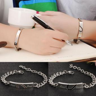 1 Pair Lovers Chain Bracelet Couple Half Heart Bracelets Link Titanium Steel Charm Bracelet - intl