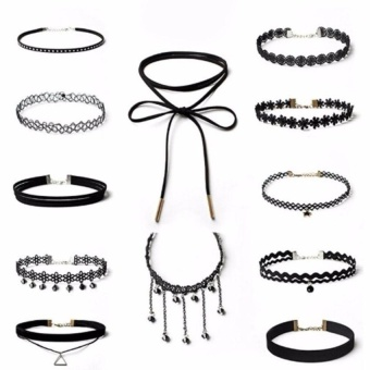 12Pcs Black Gothic Punk Velvet Tattoo Lace Choker Necklace Long Pendant Women Collar Jewelry Chocker Necklaces - intl