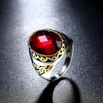 2017 Vintage 18K Gold Plated Titanium Steel Islam Ring for Men with Oval Cut Big Red Stone - intl .