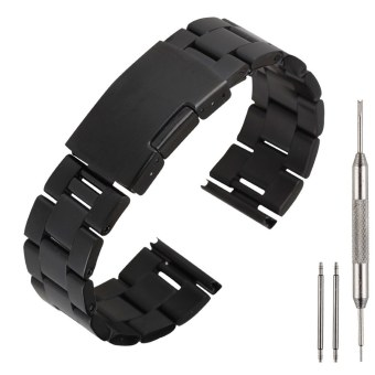 22mm Stainless Steel Watch Band Strap for Samsung Gear 2 NEO/LG G Watch R/Pebble Black ...