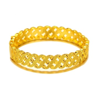 24K Gold Plated Safety Clasp Bangle Bracelet Fashion Luxury Wedding Jewelry Gift for Women Emas Korea