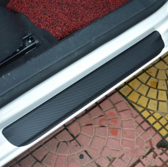4 Pcs 4D Carbon Fiber Car Door Sill Scuff Protector Stickers in Black - intl