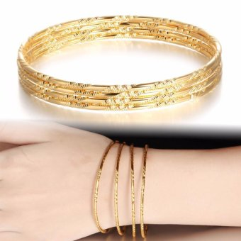 4 Pcs/Set Gold Plated Bangle Jewelry Bracelets Bangles Fashion Gold Plated Multilayer Bracelets for Women Bangles - intl