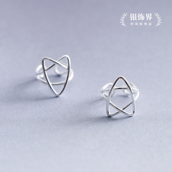 925 sterling silver original handmade line star ear clip no ear hole female Korean fake earrings simple earrings ear bone clip