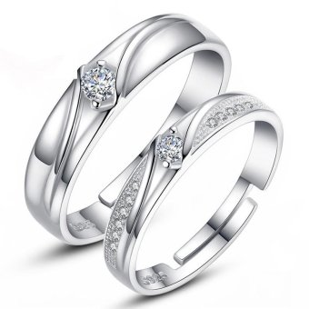 Adjustable Couple Rings 925 Silver Romentic Lover Ring Jewelry E018- intl