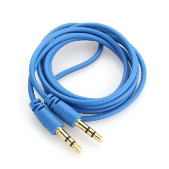 AUX Cable 3.5mm 3 Pole Male to Male Audio Stereo Extension Cord Dark Blue - intl
