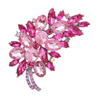 Bluelans(R) Feather Flower Rhinestone Brooch Broach Pin Banquet Badge Breastpin Pink