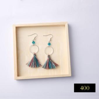 Bohemian Tassel Drops Earrings Hanging Handmade For Women Earrings Simple Geometric Green Balls Vintage Fringe Dangle