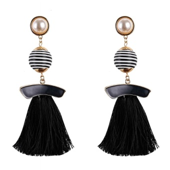 Boho Drop Earrings Vintage Statement Jewelry Ethnic Fringe Earrings Simulated Pearl Tassel Long Earring For Women - intl ...