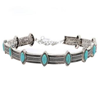 Boho Ethnic Retro Style Statement Bohemian Turquoise Collar Choker Necklace Silver - intl