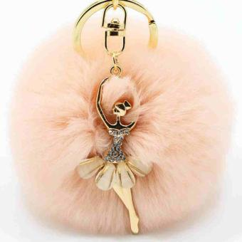 Cute Women Rabbit Fur Ball Keychain Bag Plush Car Key Ring Car Bag Key Pendant - intl