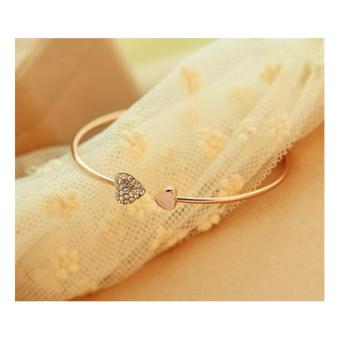 Double heart crystal love Bangles*Gold Silver plated Crystal bracelet bangles for women