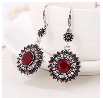 Drop Earrings Ethnic Vintage Sun Flower Bohemia Dangle Earrings Statement Women Jewelry -Red - intl ...