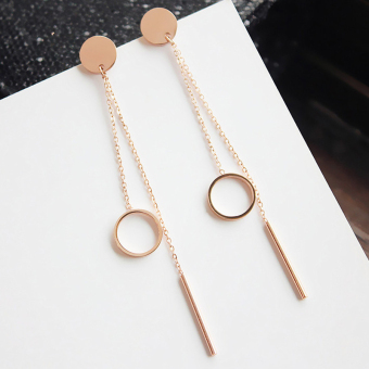 European and American style glossy long section of earrings rose gold Korean minimalist temperament wild female earrings jewelry