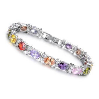 Fashion Crystal Bracelets Bangles for Women Charm Bracelet Jewelry Gold Plated Bracelet W/ AAA Zirconia Gifts - intl