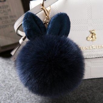 Fashion Cute Rabbit Ear Plush Ball Pendant Ornaments Keychain - Dark Blue - intl