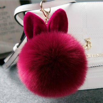 Fashion Cute Rabbit Ear Plush Ball Pendant Ornaments Keychain - Wine Red - intl