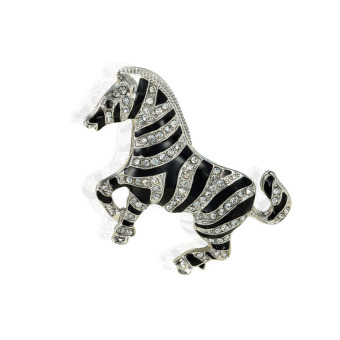 Fashion Korean Crystal Rhinestone Zebra Figure Brooch Pin Women Men Jewelry - intl