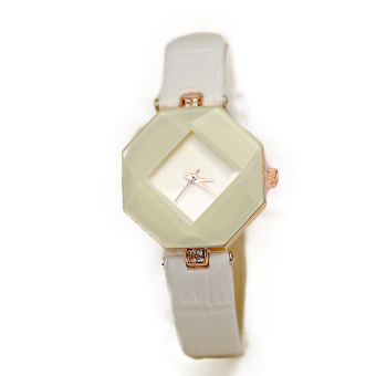 Fashion Women 3 Colors Ladies Watch Rhinestone Synthetic Leather Band Analog Quartz Casual Wristwatch - Intl