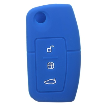 FOR FORD FIESTA FOCUS MK2 MONDEO KUGA S-MAX GALAXY SILICONE KEY COVER CASE FOB (Dark Blue) - intl ...