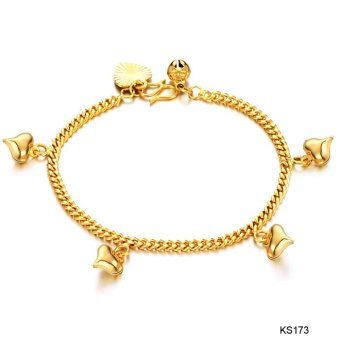 Gold Plated Bracelet for Women Bracelet Gold Chain Fashion Heart Jewelry Charm Bracelets Bangles Gifts - intl