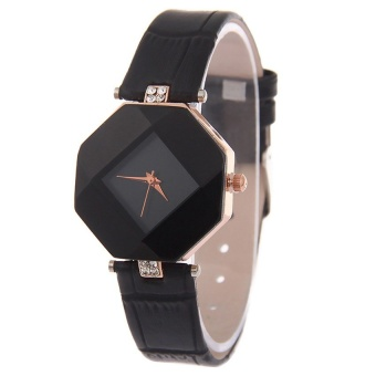 GoSport Women Rhinestone Synthetic Leather Analog Quartz Wrist Watch (Black) - intl