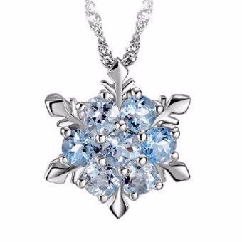 Hequ Charm Vintage Lady Necklace Women Snowflake Flower Shape Blue Zircon Silver-plated Pendants Necklaces Fashion Jewelry Blue - intl