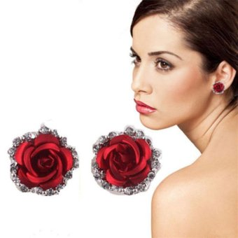 High Quality Store New New Fashion Women Lady Rose Flower Crystal Rhinestone Pierced Ear Stud Earrings