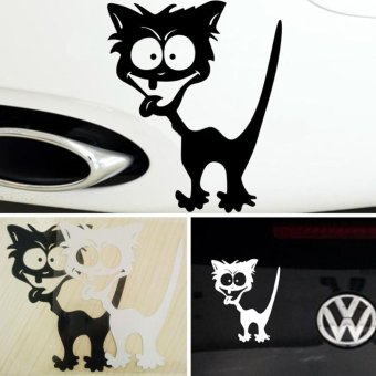 Harga Cat Car Styling Sticker on Car Reflective Waterproof Vinyl Funny Crazy Cat Car Sticker Accessories for Mazda Cruze Peugeot (Color:Black) - intl