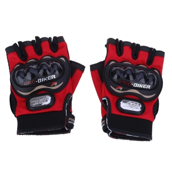 Harga MiniCar Paired Half-finger Motorcycle Gloves Motorbike Outdoor Sports Riding Breathable Protective Gears Red size:XL(Color:Red) - intl