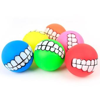 Pet Dog Funny Ball Teeth PVC Chew Sound Squeaker Dogs Play Toy (Random Color) - intl