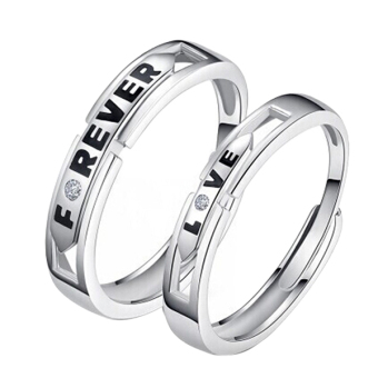Harga Forever Love Silver Crystal Couple Rings His and Hers Promise Wedding Ring