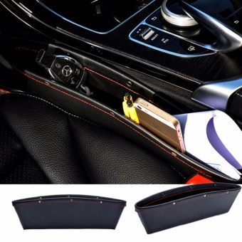 Harga Leather Car Seat Gap Filler, Car Seat Side Console Slit Caddy Catcher Storage Box Pad Pocket Premium -Black - intl