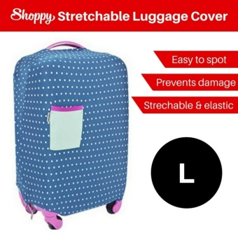 Harga Shoppy Stretchable Protection Polka Dot Luggage Cover (Polka Blue - L)