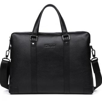 DANJUE Men Business Briefcase Genuine Leather Handbag Tote Male High Quality Brand Computer Laptop Bag Man (Black) - intl